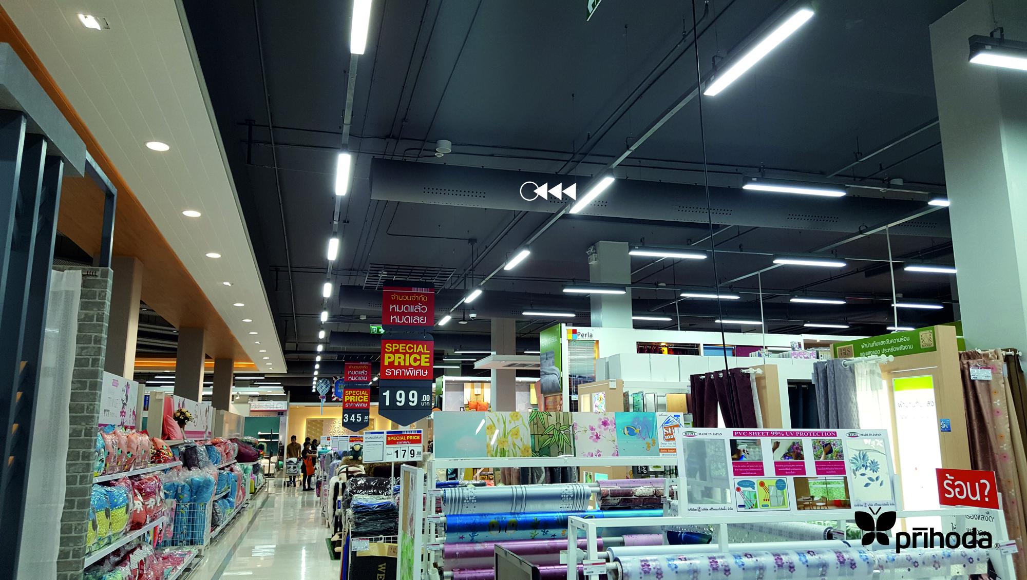 süpermarketlerde kumaş kanal ile havalandırma