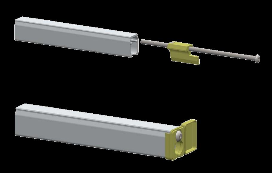 Kumaş kanal profil içi gerdirme sistem detayı